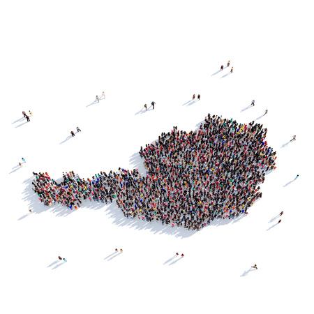 Large and creative group of people gathered together in the form of a map Austria, a map of the world. 3D illustration, isolated against a white background. 3D-rendering.