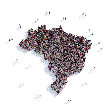 personas reunidas: Grande y creativa grupo de personas se reunieron en la forma de un mapa de Brasil, un mapa del mundo. Ilustración 3D, aislado contra un fondo blanco. 3D-prestación. Foto de archivo