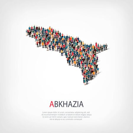 Isometric set of styles, people, map of Abkazia , country, web infographics concept of crowded space, flat 3d. Crowd point group forming a predetermined shape. Creative people. Vector illustration. Photo vector.3D illustration. White background . Isolated Illustration