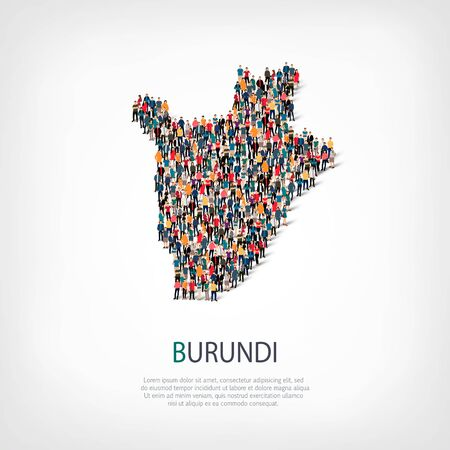 Isometric set of styles, people, map of Burundi , country, web infographics concept of crowded space, flat 3d. Crowd point group forming a predetermined shape. Creative people. Vector illustration. Photo vector.3D illustration. White background . Isolated