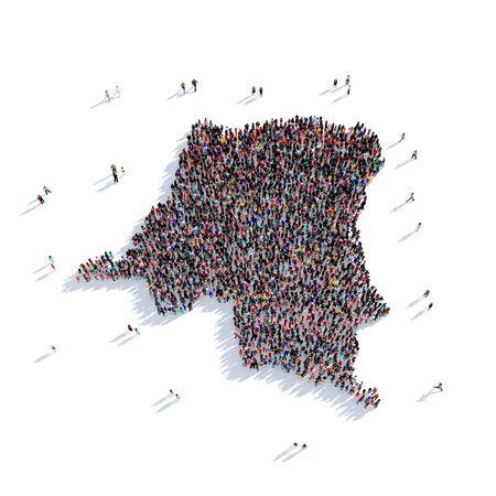 personas reunidas: Grupo grande y creativo de personas se reunieron en forma de un mapa de la República Democrática del Congo, un mapa del mundo. Ilustración 3D, aislada contra un fondo blanco. Representación 3D.