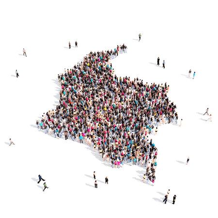 personas reunidas: Grande y creativa grupo de personas se reunieron en la forma de un mapa de Colombia, un mapa del mundo. Ilustración 3D, aislado contra un fondo blanco. 3D-prestación.