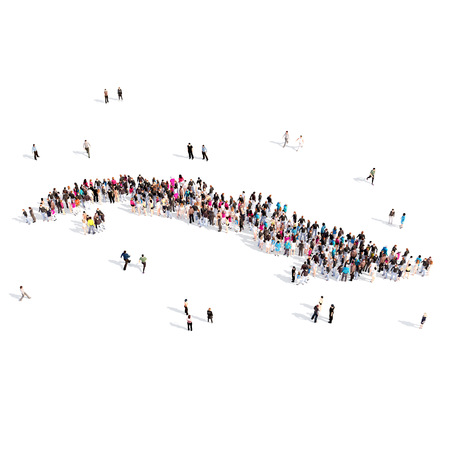 Large and creative group of people gathered together in the form of a map Cuba, a map of the world. 3D illustration, isolated against a white background. 3D-rendering. Stock Photo
