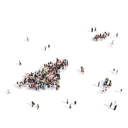 Large and creative group of people gathered together in the form of a map Guernsey, a map of the world. 3D illustration, isolated against a white background. 3D-rendering. Stock Photo
