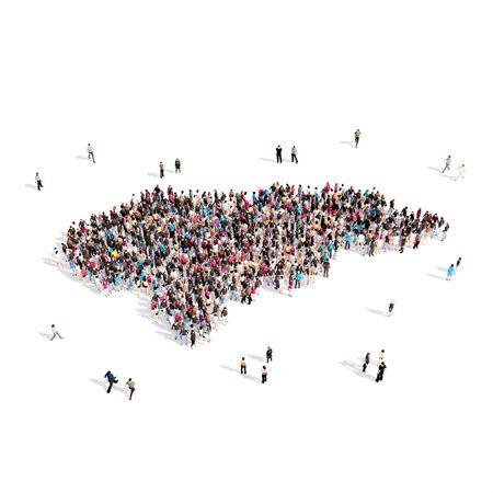 personas reunidas: Grupo grande y creativo de personas reunidas en forma de mapa Honduras, un mapa del mundo. Ilustración 3D, aislada contra un fondo blanco. Representación 3D.