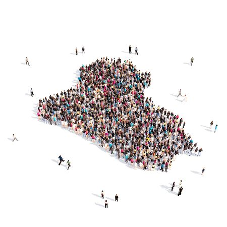 personas reunidas: Large and creative group of people gathered together in the form of a map Iraq, a map of the world. 3D illustration, isolated against a white background. 3D-rendering.