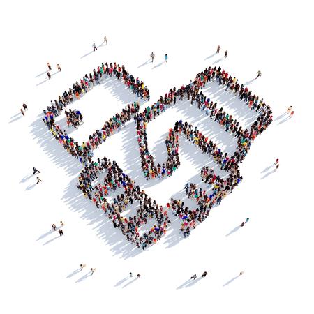 Grote en creatieve groep mensen bijeen in de vorm van een handdrukovereenkomst. 3D illustratie, geïsoleerd tegen een witte achtergrond. 3D-rendering.