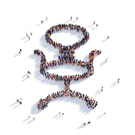 round chairs: Large and creative group of people gathered together in the form of an office chair. 3D illustration, isolated against a white background. 3D-rendering.