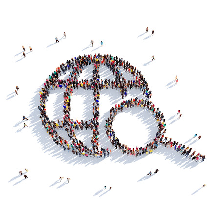 Large and creative group of people gathered together in the form of a globe, search. 3D illustration, isolated against a white background. 3D-rendering. Stock Photo