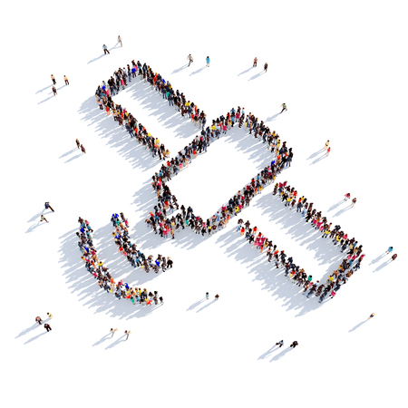 satellite 3d: Large and creative group of people gathered together in the form of a satellite. 3D illustration, isolated against a white background. 3D-rendering.