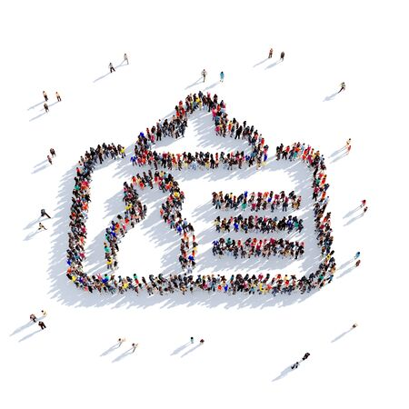 Large and creative group of people gathered together in the form of a badge. 3D illustration, isolated against a white background. 3D-rendering.