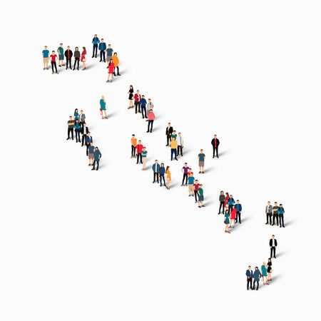 Isometric set of styles, people, map of Bahamas, country, web infographics concept of crowded space, flat 3d. Crowd point group forming a predetermined shape. Creative people. Vector illustration. Photo vector.3D illustration. White background . Isolated. Illustration