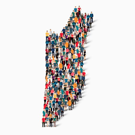 Isometric set of styles, people, map of Belize , country, web infographics concept of crowded space, flat 3d. Crowd point group forming a predetermined shape. Creative people. Vector illustration. Photo vector.3D illustration. White background . Isolated.