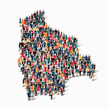 map bolivia: Conjunto isométrico de estilos, personas, mapa de Bolivia, país, web infographics concepto de espacio lleno de gente, plana 3d. Grupo de puntos de la multitud que forma una forma predeterminada. Gente creativa. Ilustración del vector. Foto vector.3D ilustración. Fondo blanco . Aislado
