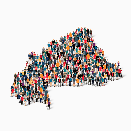 Isometric set of styles, people, map of Burkina Faso, country, web infographics concept of crowded space, flat 3d. Crowd point group forming a predetermined shape. Creative people. Vector illustration. Photo vector.3D illustration. White background . Isol Illustration