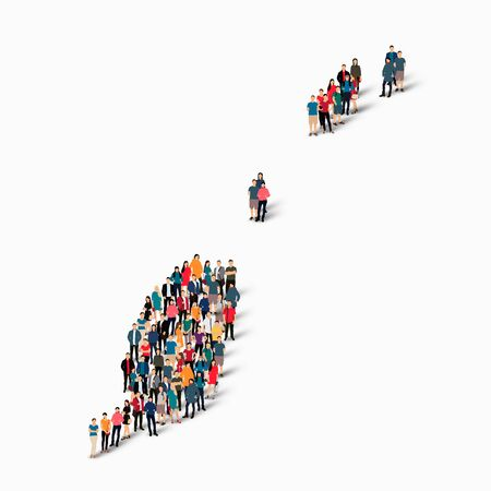 Isometric set of styles, people, map of Grenada , country, web infographics concept of crowded space, flat 3d. Crowd point group forming a predetermined shape. Creative people. Vector illustration. Photo vector.3D illustration. White background . Isolated Illustration