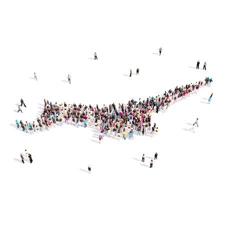 personas reunidas: Large and creative group of people gathered together in the form of a map Northern Cyprus, a map of the world. 3D illustration, isolated against a white background. 3D-rendering.