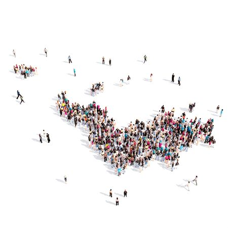 personas reunidas: Large and creative group of people gathered together in the form of a map Saint Barthelemy , a map of the world. 3D illustration, isolated against a white background. 3D-rendering. Foto de archivo