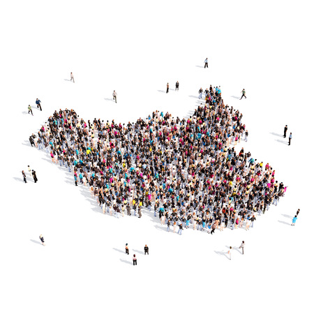 Large and creative group of people gathered together in the form of a map South Sudan , a map of the world. 3D illustration, isolated against a white background. 3D-rendering.