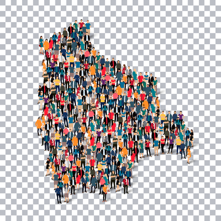analyze: Isometric set of styles, people, map of Bolivia , country, web infographics concept of crowded space, flat 3d. Crowd point group forming a predetermined shape. Creative people. Vector illustration. Photo vector.3D illustration. Transparent background . Is Illustration