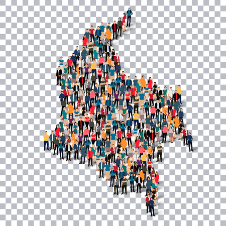 Isometric set of styles, people, map of Colombia , country, web infographics concept of crowded space, flat 3d. Crowd point group forming a predetermined shape. Creative people. Vector illustration. Photo vector.3D illustration. Transparent background . I