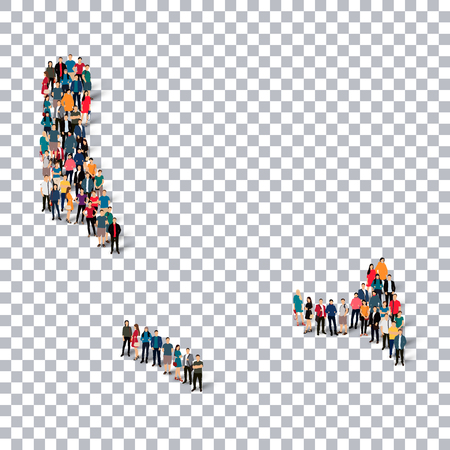 Isometric set of styles, people, map of Comoros , country, web infographics concept of crowded space, flat 3d. Crowd point group forming a predetermined shape. Creative people. Vector illustration. Photo vector.3D illustration. Transparent background . Is