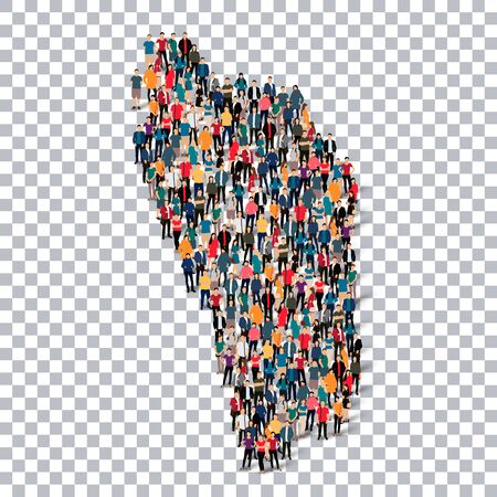 Isometric set of styles, people, map of Dominica , country, web infographics concept of crowded space, flat 3d. Crowd point group forming a predetermined shape. Creative people. Vector illustration. Photo vector.3D illustration. Transparent background . I