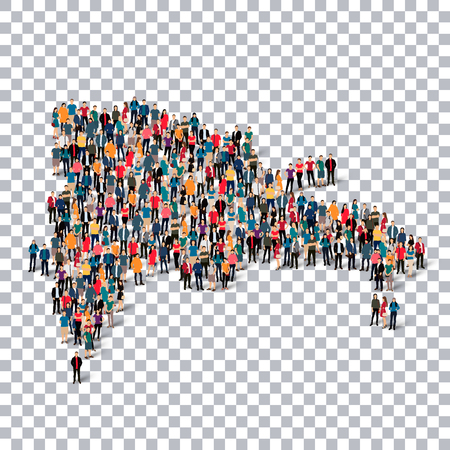 Isometric set of styles, people, map of Dominican Republic , country, web infographics concept of crowded space, flat 3d. Crowd point group forming a predetermined shape. Creative people. Vector illustration. Photo vector.3D illustration. Transparent back Illustration