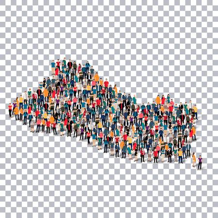 mapa de el salvador: Conjunto isométrico de estilos, la gente, mapa de El Salvador, país, infografía web concepto de espacio abarrotado, 3d plana. grupo de puntos de multitud formando una forma predeterminada. Gente creativa. Ilustración del vector. Foto ilustración vector.3D. Fondo transparente Vectores