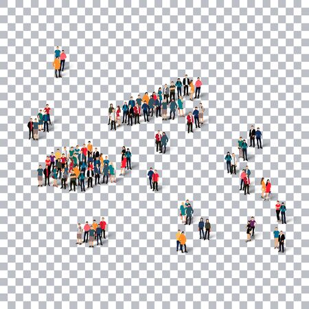 Isometric set of styles, people, map of Fiji , country, web infographics concept of crowded space, flat 3d. Crowd point group forming a predetermined shape. Creative people. Vector illustration. Photo vector.3D illustration. Transparent background . Isola