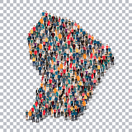 Isometric set of styles, people, map of French , country, web infographics concept of crowded space, flat 3d. Crowd point group forming a predetermined shape. Creative people. Vector illustration. Photo vector.3D illustration. Transparent background . Iso