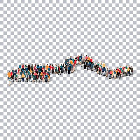 gambia: Isometric set of styles, people, map of Gambia , country, web infographics concept of crowded space, flat 3d. Crowd point group forming a predetermined shape. Creative people. Vector illustration. Photo vector.3D illustration. Transparent background . Iso