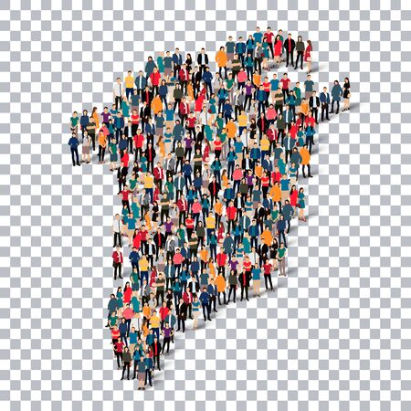 Isometric set of styles, people, map of Greenland , country, web infographics concept of crowded space, flat 3d. Crowd point group forming a predetermined shape. Creative people. Vector illustration. Photo vector.3D illustration. Transparent background .