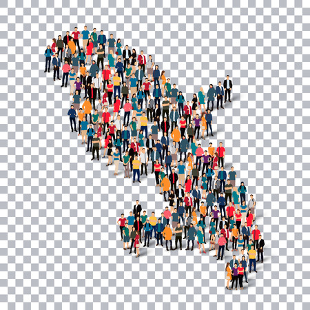martinique: Isometric set of styles, people, map of Martinique , country, web infographics concept of crowded space, flat 3d. Crowd point group forming a predetermined shape. Creative people. Vector illustration. Photo vector.3D illustration. Transparent background . Illustration