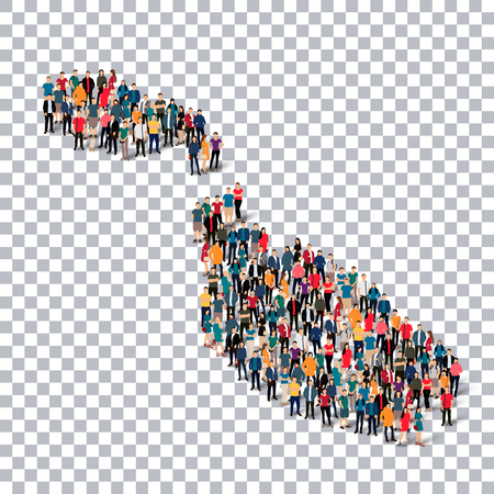 map malta: Isometric set of styles, people, map of Malta , country, web infographics concept of crowded space, flat 3d. Crowd point group forming a predetermined shape. Creative people. Vector illustration. Photo vector.3D illustration. Transparent background . Isol