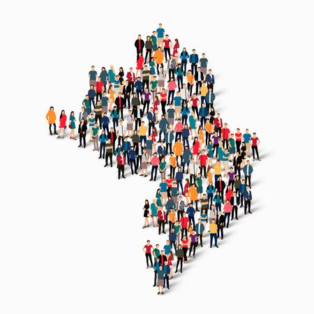 Isometric set of styles, people, map of Nagorno-Karabakh , country, web infographics concept of crowded space, flat 3d. Crowd point group forming a predetermined shape. Creative people. Vector illustration. Photo vector.3D illustration. White background .