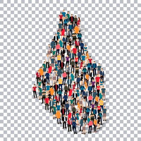 Isometric set of styles, people, map of Montserrat, country, web infographics concept of crowded space, flat 3d. Crowd point group forming a predetermined shape. Creative people. Vector illustration. Photo vector.3D illustration. Transparent background .