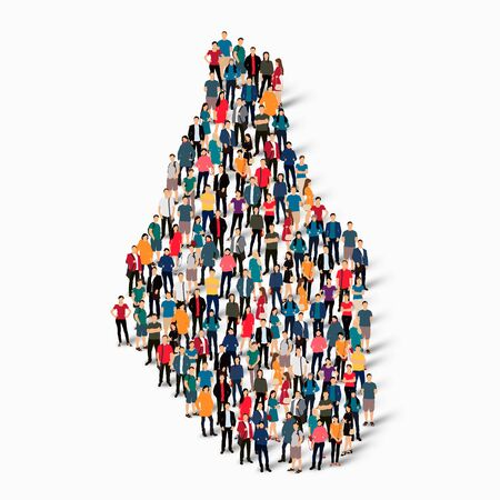 Isometric set of styles, people, map of Montserrat, country, web infographics concept of crowded space, flat 3d. Crowd point group forming a predetermined shape. Creative people. Vector illustration. Photo vector.3D illustration. White background . Isolat