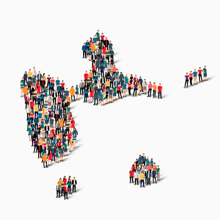 guadeloupe: Isometric set of styles, people, map of Guadeloupe, country, web infographics concept of crowded space, flat 3d. Crowd point group forming a predetermined shape. Creative people. Vector illustration. Photo vector.3D illustration. White background . Isolat