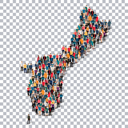 Isometric set of styles, people, map of Guam, country, web infographics concept of crowded space, flat 3d. Crowd point group forming a predetermined shape. Creative people. Vector illustration. Photo vector.3D illustration. Transparent background . Isolat Illustration