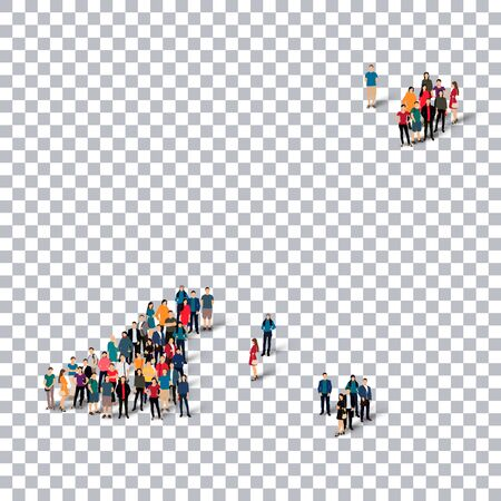 guernsey: Isometric set of styles, people, map of Guernsey, country, web infographics concept of crowded space, flat 3d. Crowd point group forming a predetermined shape. Creative people. Vector illustration. Photo vector.3D illustration. Transparent background . Is