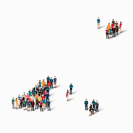 guernsey: Isometric set of styles, people, map of Guernsey, country, web infographics concept of crowded space, flat 3d. Crowd point group forming a predetermined shape. Creative people. Vector illustration. Photo vector.3D illustration. White background . Isolated