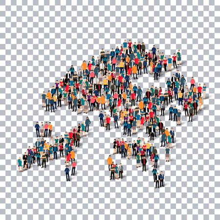 Isometric set of styles, people, map of Hong Kong , country, web infographics concept of crowded space, flat 3d. Crowd point group forming a predetermined shape. Creative people. Vector illustration. Photo vector.3D illustration. Transparent background .
