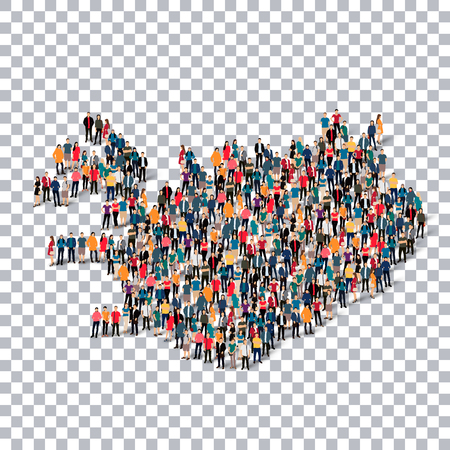 Isometric set of styles, people, map of Iceland , country, web infographics concept of crowded space, flat 3d. Crowd point group forming a predetermined shape. Creative people. Vector illustration. Photo vector.3D illustration. Transparent background . Is Illustration