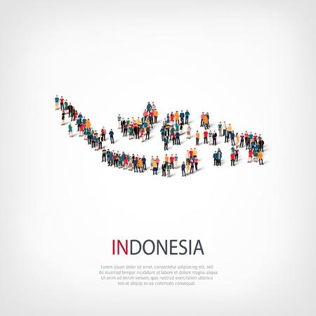 スタイル、人々、インドネシア、国、混雑した空間、フラット 3 d の web インフォ グラフィックの概念の地図の等尺性のセットです。群衆ポイント