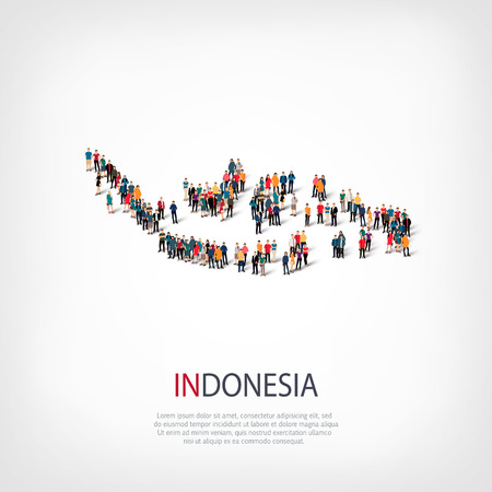Isometric set of styles, people, map of Indonesia, country, web infographics concept of crowded space, flat 3d. Crowd point group forming a predetermined shape. Creative people. Vector illustration. Photo vector.3D illustration. White background . Isolate