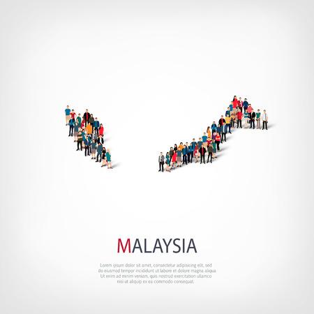 topografia: personas mapa país Malasia vector