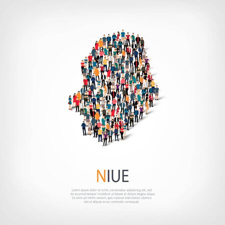 niue: people map country Niue vector Illustration