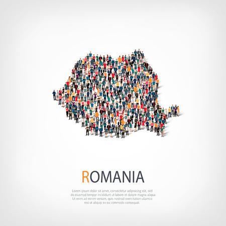 mensen kaart land Roemenië een vector Stock Illustratie