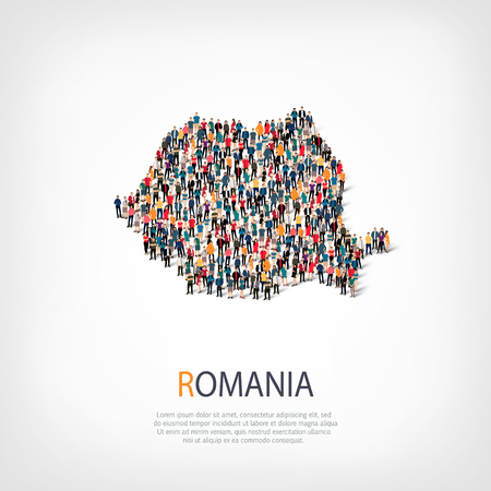 people map country Romania a vector Illustration